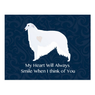 Borzoi Thinking of You Design Postcard