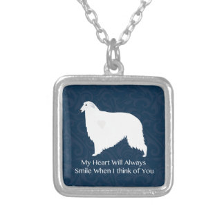 Borzoi Thinking of You Design Silver Plated Necklace