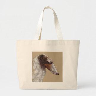 Borzoi Vintage Head Large Tote Bag