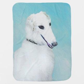 Borzoi (White) Painting - Cute Original Dog Art Baby Blanket