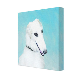 Borzoi (White) Painting - Cute Original Dog Art Canvas Print