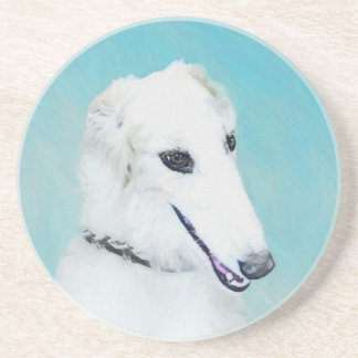 Borzoi (White) Painting - Cute Original Dog Art Coaster