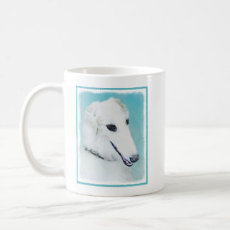 Borzoi (White) Painting - Cute Original Dog Art Coffee Mug