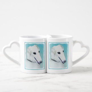 Borzoi (White) Painting - Cute Original Dog Art Coffee Mug Set