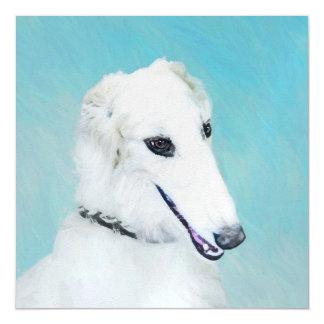 Borzoi (White) Painting - Cute Original Dog Art Magnetic Card