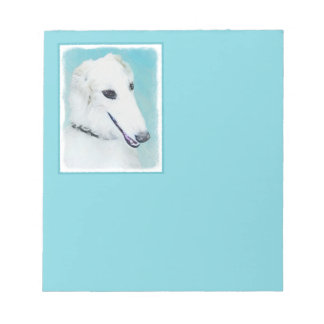 Borzoi (White) Painting - Cute Original Dog Art Notepad
