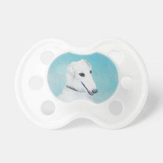 Borzoi (White) Painting - Cute Original Dog Art Pacifier