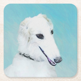Borzoi (White) Painting - Cute Original Dog Art Square Paper Coaster