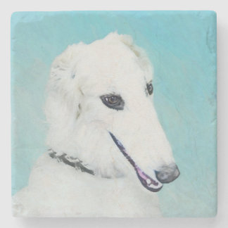 Borzoi (White) Painting - Cute Original Dog Art Stone Coaster