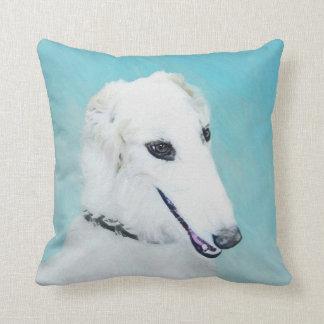 Borzoi (White) Throw Pillow