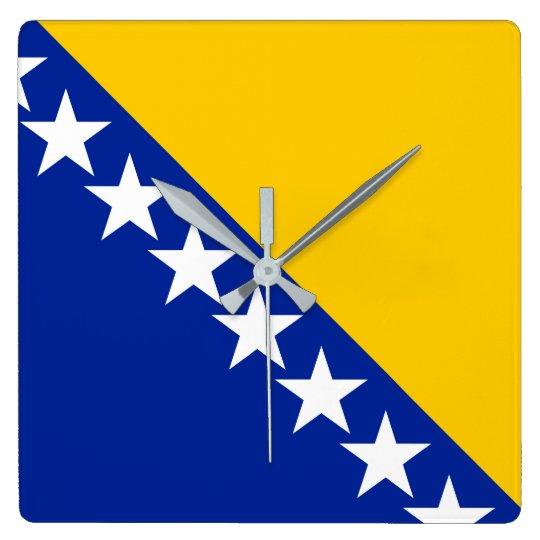 Bosnia and Herzegovina Flag Square Wall Clock