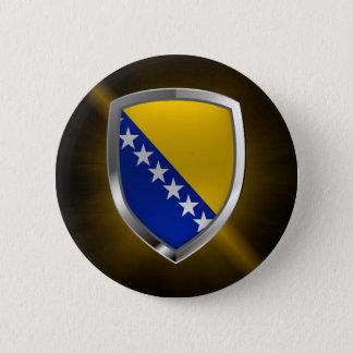 Bosnia and Herzegovina Metallic Emblem 2 Inch Round Button