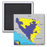 Bosnia Herzegovina country political map flag Fridge Magnets