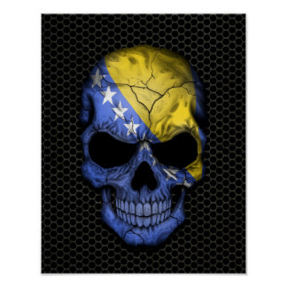 Bosnia - Herzegovina Flag Skull on Steel Mesh Grap Poster