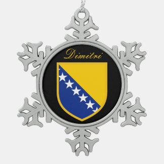 Bosnia Herzegovina Flag Snowflake Pewter Christmas Ornament