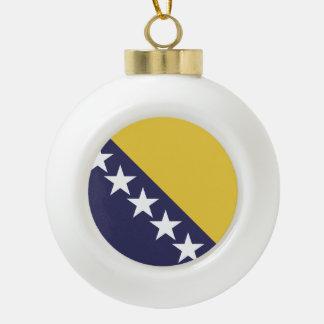 Bosnia Herzgovina Flag Ceramic Ball Christmas Ornament