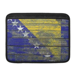 Bosnian Flag on Rough Wood Boards Effect MacBook Sleeve