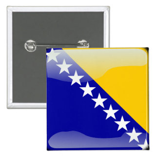 Bosnian glossy flag 2 inch square button