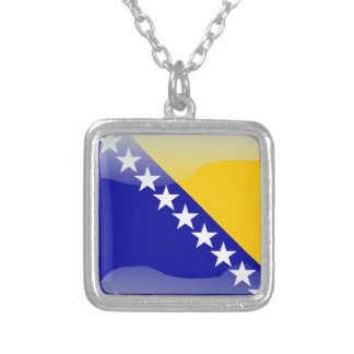 Bosnian glossy flag silver plated necklace