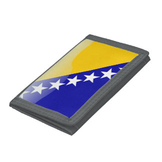 Bosnian glossy flag trifold wallet
