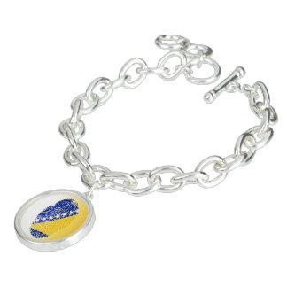 Bosnian touch fingerprint flag charm bracelet