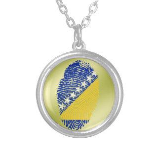 Bosnian touch fingerprint flag silver plated necklace