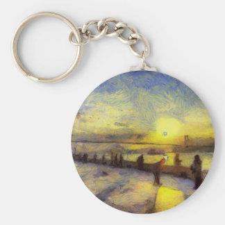 Bosphorus Istanbul Sunset Art Keychain