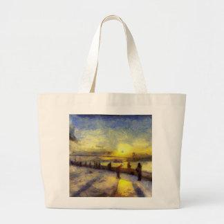 Bosphorus Istanbul Sunset Art Large Tote Bag