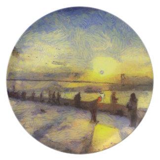 Bosphorus Istanbul Sunset Art Plate