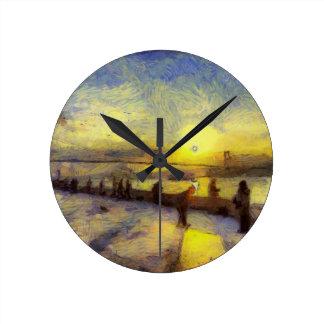 Bosphorus Istanbul Sunset Art Round Clock