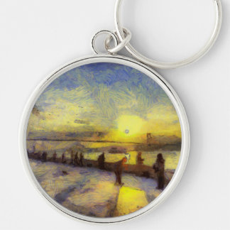 Bosphorus Istanbul Sunset Art Silver-Colored Round Keychain