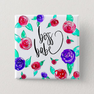 Boss babe 2 inch square button