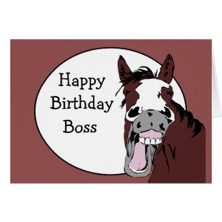 Boss Birthday Humor with Horse Cartoon Greeting Card