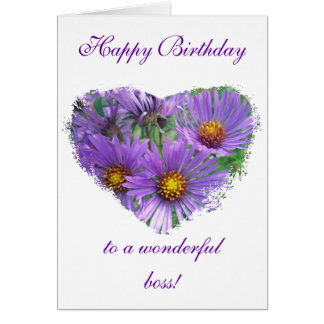 Boss Birthday Purple Fall Asters Wildflower Card