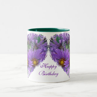 Boss Birthday Purple Fall Asters Wildflower Two-Tone Mug