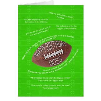 Boss birthday, really bad football jokes greeting card