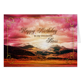 Boss birthday, Sunset over the mountains Greeting Card