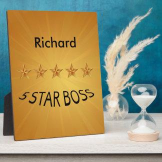 Boss Boss Day Five Star Boss  8x10 Plaque
