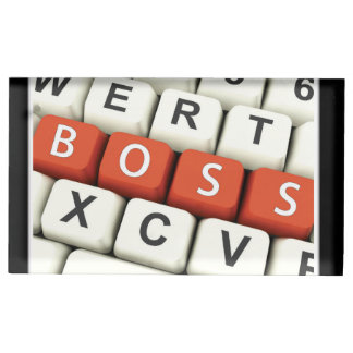 Boss Day, Red Boss in Computer Keyboard Table Card Holders