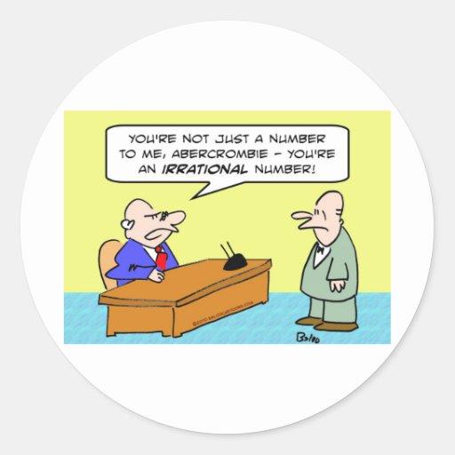 boss irrational number businessman round sticker