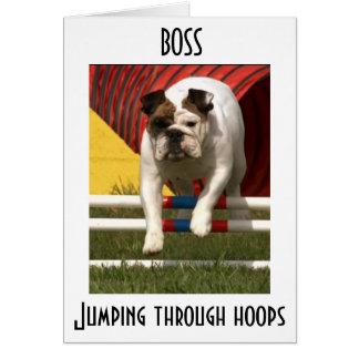 *BOSS* JUMPING THR0UGH HOOPS--HAPPY BIRTHDAY CARD