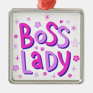 Boss lady Silver-Colored square ornament
