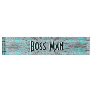 Boss Man Blue Nameplate