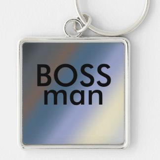 BOSS man key-ring Silver/steal blue blends Keychain