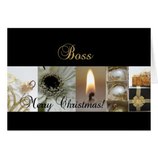 Boss Merry Christmas  black gold christmas-mas col Card