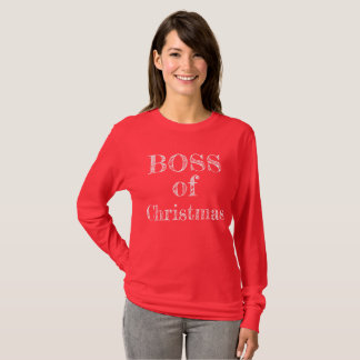 Boss of Christmas Red Rustic Humorous Funny T-Shirt
