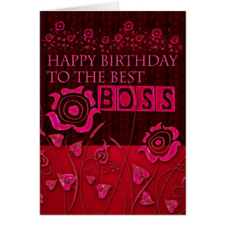 Boss pink floral  birthday card