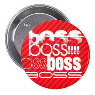 Boss; Scarlet Red Stripes 3 Inch Round Button