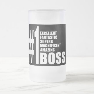 Bosses Birthdays Gifts : Number One Boss 16 Oz Frosted Glass Beer Mug