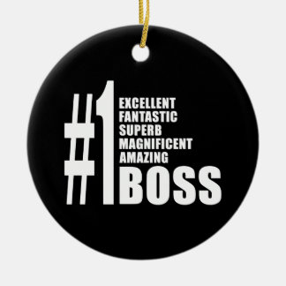 Bosses Birthdays Gifts : Number One Boss Double-Sided Ceramic Round Christmas Ornament